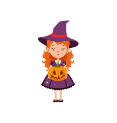 Young red-haired girl witch standing with pumpkin vector
