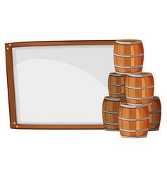 board template with barrels on side vector image vector image
