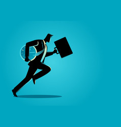 businessman running with briefcase and clock vector image vector image