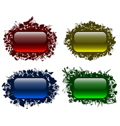 Glassy buttons in floral frames vector image