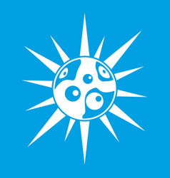 round cell virus icon white vector image vector image