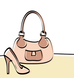 Abstract handbag and woman shoe vector image vector image