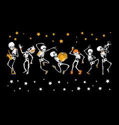 Dancing and musical skeletons haloween set vector