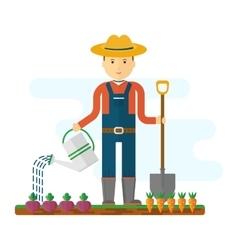 farmer with shovel in garden vector image