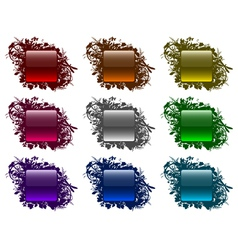 Glassy buttons in floral frames vector image vector image
