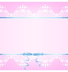 Pink background with white lace vector image