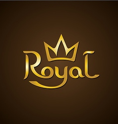 Royal golden letters text logo with crown vector image vector image