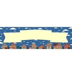 Above the houses develops banner for your text vector image