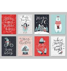 Christmas card set hand drawn style vector image vector image