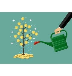 hand watering money coin tree with can vector image vector image