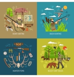 Hunting 2x2 Design Concept Set vector image vector image