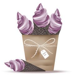 Ice cream cones in a basket lavender flavours vector