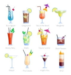 Set of alcoholic cocktails isolated on white vector image vector image