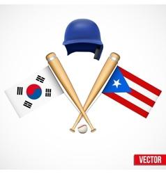 Symbols of Baseball team South Korea and Puerto vector image vector image