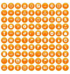 100 pointers icons set orange vector