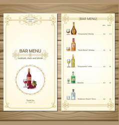 bar menu template vector image vector image