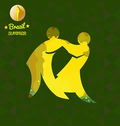 Brazil summer sport card with two abstract yellow vector
