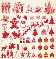 Christmas silhouettes pack vector image
