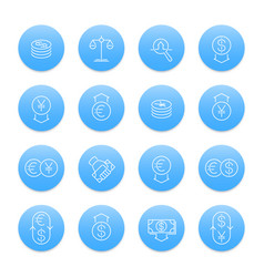 currency line icons set forex trading foreign vector image vector image