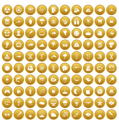 100 research icons set gold vector