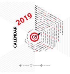 2019 calendar templatehexagon shape vector image