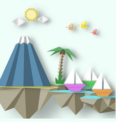 Abstract cut birds yacht mountain and 3d fly vector