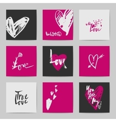 Abstract postcard Valentine templates vector image