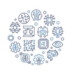 Ai technology round creative outline vector
