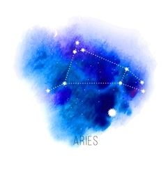 Astrology sign Aries on watercolor background vector image