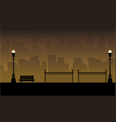 beauty landscape chair with fence silhouettes vector image