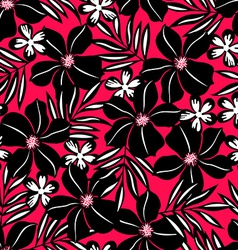 Black tropical flower on red background vector