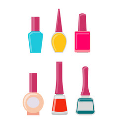 Bright gel nail polishes in glass bottles set vector