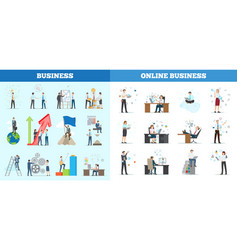 business collection of banners with multiple icons vector image