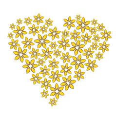 Cartoon floral heart vector