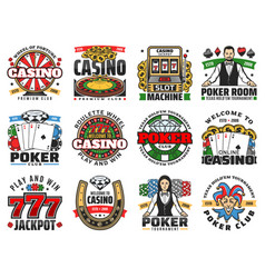 Casino icons roulette poker cards chips dice vector