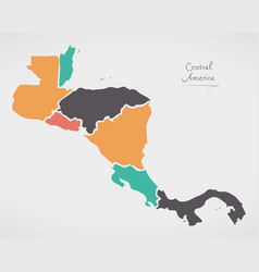 Central america map with states and modern round vector