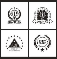 Champion prize for epic win promo emblems set vector