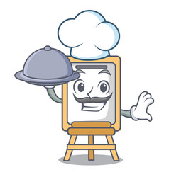 chef with food easel mascot cartoon style vector image