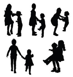 Children funny silhouette vector