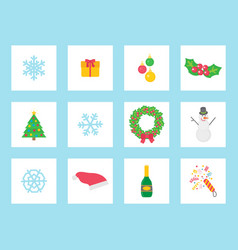 christmas wreath made mistletoe and bow icons vector image