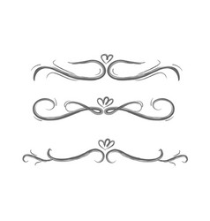 collection hand drawn decorative calligraphic e vector image