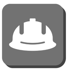Construction Helmet Rounded Square Icon vector image