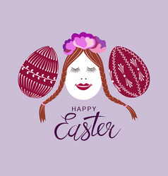 cute decorated easter eggs vector image