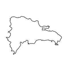 dominican republic map of black contour curves of vector image