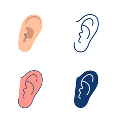 Ear icon set in flat and line style vector