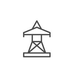 electric pylon line outline icon vector image