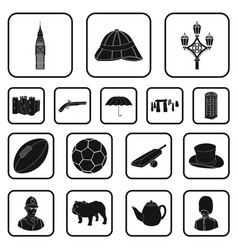 England country black icons in set collection for vector