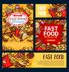 Fast food templates set of fastfood meals vector