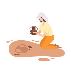 Female archaeologist kneeling and holding ancient vector