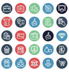 Finance bold outline icons set included ba vector